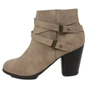 Shoes - Taupe Criss Cross Multi Strap Stacked Ankle Bootie